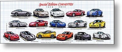 Metal Print featuring the drawing 1978 - 2011 Special Edition Corvettes by K Scott Teeters