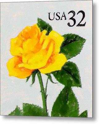 1996 Yellow Rose Metal Print by Lanjee Chee
