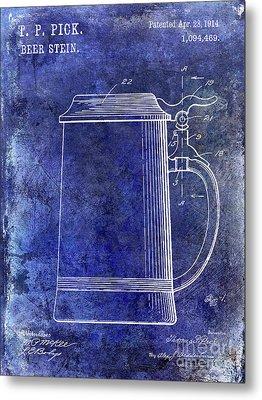 1914 Beer Stein Patent Blue Metal Print