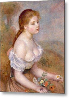 A Young Girl With Daisies Metal Print by Auguste Renoir