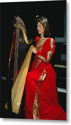 Beautiful Harp Player Metal Print by Carl Purcell