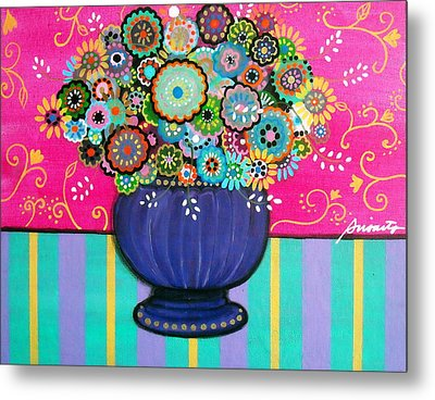 Metal Print featuring the painting Blooms by Pristine Cartera Turkus