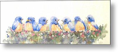 Bluebird Friends Metal Print