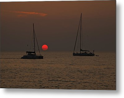 Boats In The Sunset Metal Print by Joana Kruse