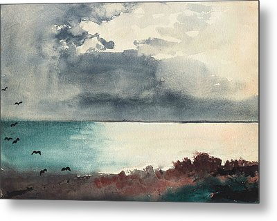 Breaking Storm Coast Of Maine Metal Print