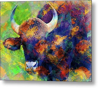 Bull Metal Print by Elena Kosvincheva