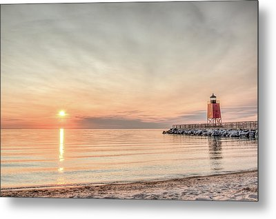 Charelvoix Lighthouse In Charlevoix, Michigan Metal Print