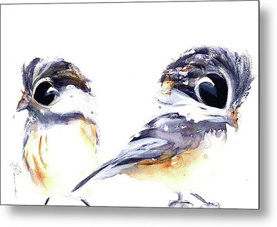 Metal Print featuring the painting 2 Chickadees by Dawn Derman