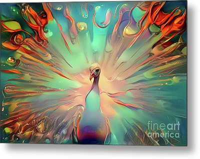 Colorful Peacock Metal Print