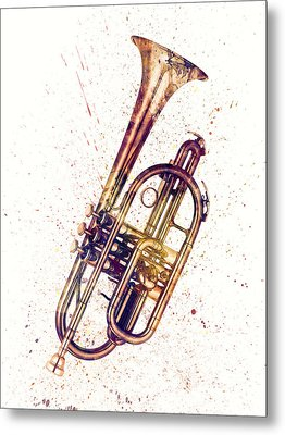 Cornet Abstract Watercolor Metal Print by Michael Tompsett