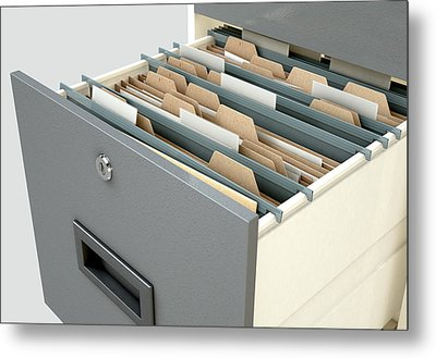 Filing Cabinet Drawer Open Generic Metal Print by Allan Swart