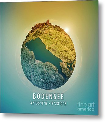 Lake Constance 3d Little Planet 360-degree Sphere Panorama Metal Print