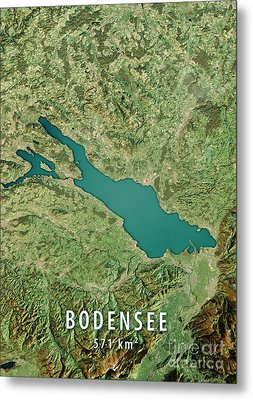 Lake Constance 3d Render Satellite View Topographic Map Metal Print by Frank Ramspott