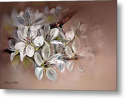 Metal Print featuring the painting Oriental Pear Blossom by Bonnie Willis
