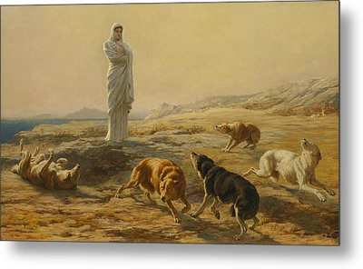 Pallas Athena And The Herdsman's Dogs Metal Print by Briton Riviere