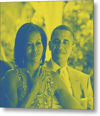Portrait Of Barack And Michelle Obama Metal Print by Asar Studios