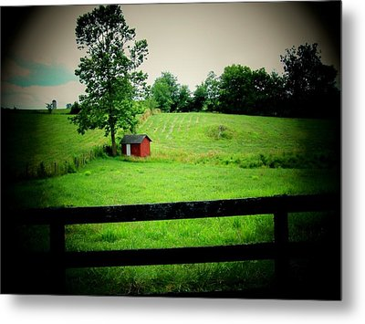 Shed And Fence Metal Print by Michael L Kimble