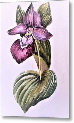 Metal Print featuring the painting Slipper Foot Orchid by Mindy Newman