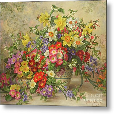 Spring Flowers And Poole Pottery Metal Print