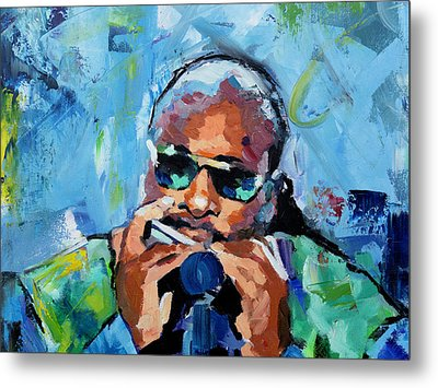 Metal Print featuring the painting Stevie Wonder by Richard Day