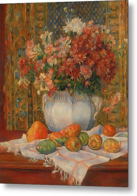 Still Life With Flowers And Prickly Pears Metal Print