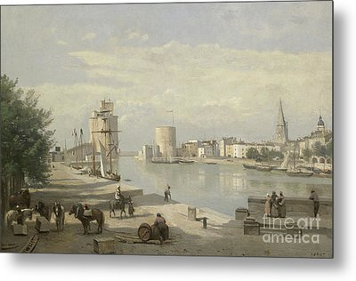 The Harbor Of La Rochelle Metal Print by Jean Baptiste Camille Corot