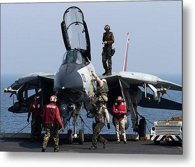 An F-14d Tomcat On The Flight Deck Metal Print by Gert Kromhout
