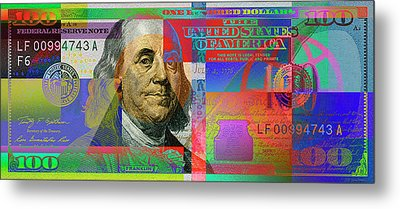 2009 Series Pop Art Colorized U. S. One Hundred Dollar Bill No. 1 Metal Print by Serge Averbukh