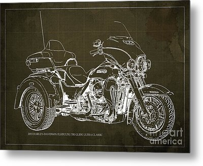 2015 Harley-davidson Flhtcutg Tri Glide Ultra Classic Blueprint Brown Background Metal Print by Pablo Franchi