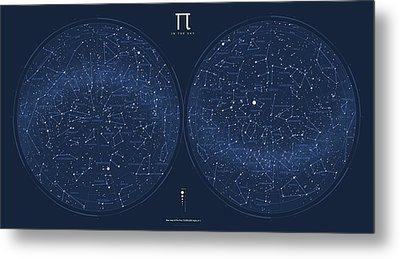 2017 Pi Day Star Chart Azimuthal Projection Metal Print by Martin Krzywinski
