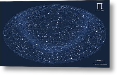 2017 Pi Day Star Chart Hammer/aitoff Projection Metal Print by Martin Krzywinski