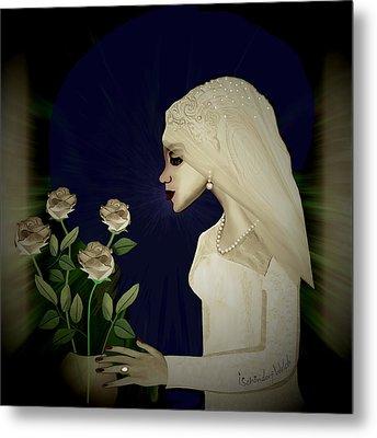 202 - Shy  Bride  2017 Metal Print by Irmgard Schoendorf Welch