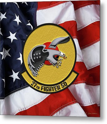 Metal Print featuring the digital art 27th Fighter Squadron - 27 Fs Patch Over American Flag by Serge Averbukh