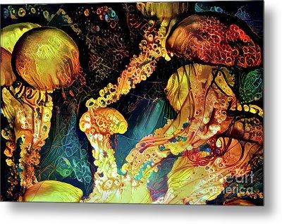 Abstract Jellyfish Metal Print