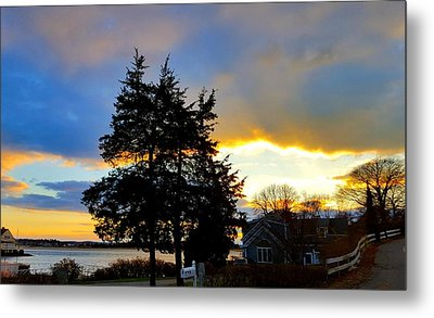 Annisquam Winter Sunset Metal Print by Harriet Harding