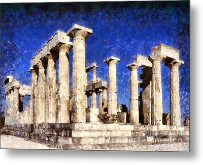 Aphaia Athina Temple Metal Print by George Atsametakis