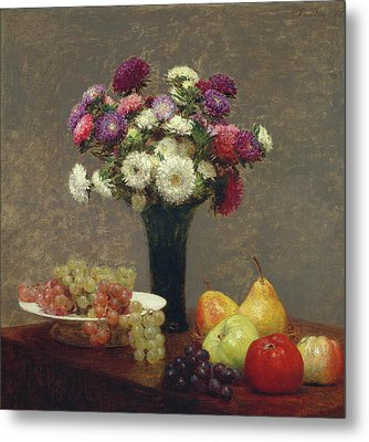 Asters And Fruit On A Table Metal Print