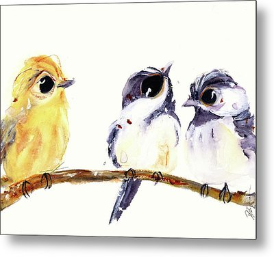 Metal Print featuring the painting 3 Birds On A Branch by Dawn Derman