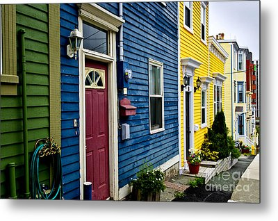Colorful Houses In St. John's Metal Print