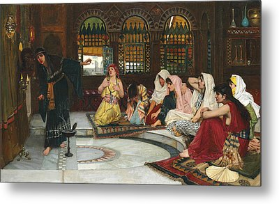 Consulting The Oracle Metal Print by John William Waterhouse