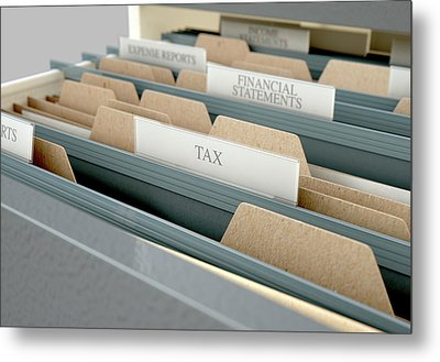 Filing Cabinet Drawer Open Tax Metal Print by Allan Swart