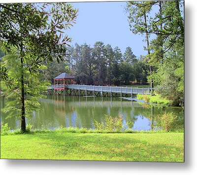 Gazebo On The Lake Metal Print by Diane Ferguson