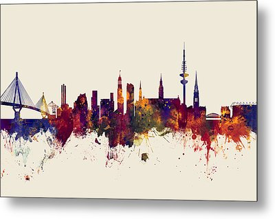 Hamburg Germany Skyline Metal Print by Michael Tompsett