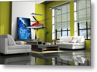 Helicopter Art Metal Print by Marvin Blaine