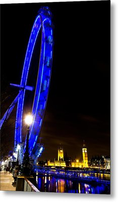 London Eye Night View Metal Print