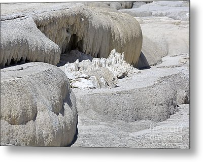 Mammoth Hot Springs Upper Terraces In Yellowstone National Park Metal Print by Louise Heusinkveld