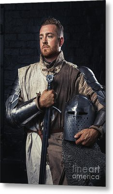 Medieval Knight In Armour Metal Print by Amanda Elwell