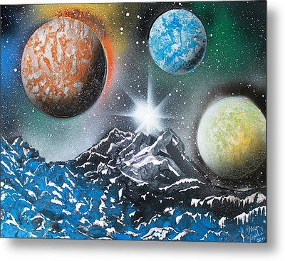 Metal Print featuring the painting 3 Planets 4687 by Greg Moores