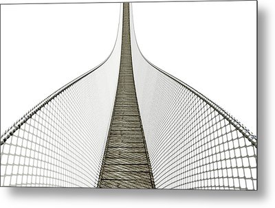 Rope Bridge On White Metal Print by Allan Swart