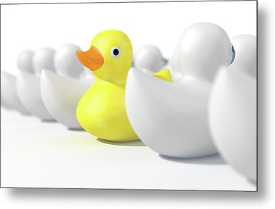 Rubber Duck Against The Flow Metal Print